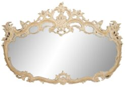French Louis XV Style Bleached Carved Wood Wall Mirror